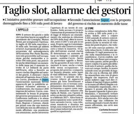 """Curcio a """"Il Messaggero"""": """"Con i tagli previsti a rischio 500 mila posti di lavoro"""""""